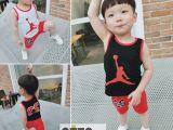 15夏新款男童背心套装韩版纯棉 两件套时尚运动儿童背心套装爆款