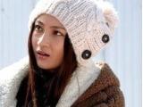 2014时尚潮人保暖帽 北京青年唐娇姚笛同款毛线帽子麻花纽扣冬帽
