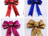 圣诞节装饰品 圣诞树蝴蝶结挂件 蝴蝶结金葱粉高档蝴蝶结