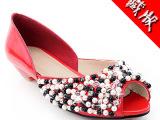 成都女鞋厂家直销热卖奢侈品同款 低跟串珠鱼嘴凉鞋真皮女鞋批发