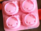 4连笑脸kitty硅胶手工皂模具 硅胶蛋糕模 蛋糕工具 硅胶制品