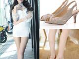 2015夏季新款女凉鞋韩版纯色细跟金属搭扣女鞋露趾水钻中跟鞋