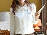 #春装新款女韩版衬衣OL通勤休闲免毛娃娃领女款优雅百搭衬衫