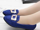2014新款春鞋欧美绒面铆钉平底休闲女单鞋尖头复古低帮平底鞋