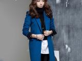 2014女韩版秋冬装新款蓝色OL显瘦中长款蓝色修身毛羊毛呢外套大