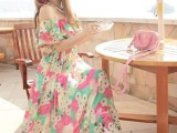 2015夏季新款吊带波西米亚长裙连衣裙大摆度假沙滩裙