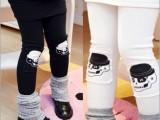 童装批发童裤 韩版童裤 两色膝拼补丁骷髅裤假两件包臀长裤裙