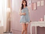 2014夏日新款  拼接蕾丝袖 甜美气质牛仔裙 圆摆连衣裙 1