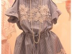 韩国代购2014夏装新款连衣裙 宽松大码露肩条纹收腰显瘦连衣裙
