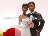 黑人情侣人偶摆件、结婚婚庆装饰、欧美蛋糕叉、蛋糕顶装饰人物