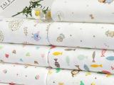 全棉针织卡通印花汗布 纯棉莱卡面料 40支精梳棉儿童内衣面料现货