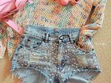 2015春夏新款手工钉珠串珠亮片做旧磨白时尚破洞牛仔热裤女潮