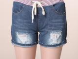 韩版女式牛仔裤批发 松紧腰牛仔短裤 大码女装短裤 一件代发