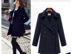 秋季韩版女装 小香风中长款双排扣大码呢子大衣女 毛呢外套 大衣