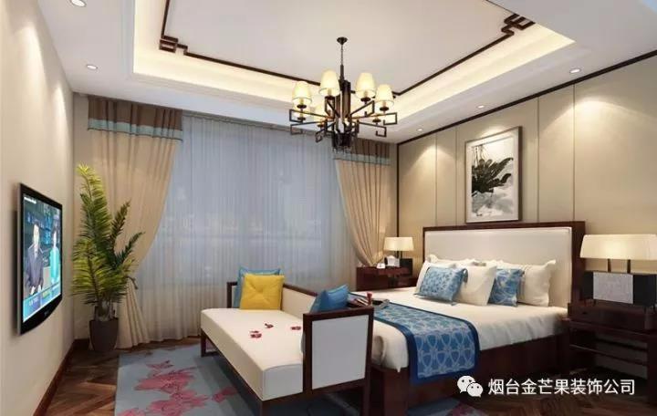 烟台金芒果装饰 山居郦城74平 新中式风格
