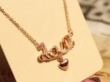韩国925纯银镀玫瑰金一体链 锆石时尚韩流 字母项链