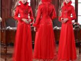 喜缘服饰 秋冬夹棉长袖长款新娘旗袍中式婚礼复古结婚敬酒服礼服