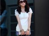 2015夏季日韩外贸服装女装批发打底衫短袖T恤批发蕾丝泡泡袖短袖