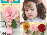 韩版儿童发饰 手工叶子玫瑰花发夹 女童压夹宝宝边夹淘宝必备批发