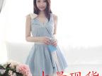 2014年韩国热销款~气质V领珍珠装饰 蝴蝶结收腰大摆连衣裙