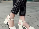 微信代发2015新款夏季欧美时尚真皮女鞋百搭尖头高跟鞋粗跟女单鞋
