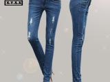 欧洲站春款时尚修身破洞猫爪弹力女式牛仔长裤女装显瘦铅笔小脚裤