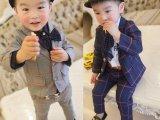 一键代发男童装春秋装新款儿童1-4岁格子小西装宝宝西服套装衣服