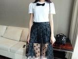 欧洲站2014 新款蝴蝶结短袖T+欧根纱波点长裙 两件套 套装