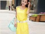 2014春夏新款 韩版甜美镶钻无袖背心裙显瘦包臀雪纺连衣裙