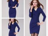 女装新款韩版V领褶皱长袖包臀气质修身显瘦长袖OL职业连衣裙