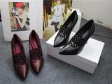 2014最新款品牌原单女鞋 羊皮尖头单鞋细跟格子深口鞋 脚感很好