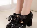 清仓 2013女鞋单鞋 真皮圆头深口系带粗跟高跟单鞋 春秋女式单鞋
