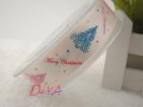 迪雅织带批发丝带礼品带罗纹带涤纶带印三色圣诞节系列20mm可定制