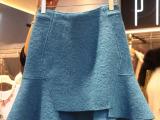 韩国代购秋冬新款女装不规则短裙显瘦荷叶边半身裙毛呢短裙