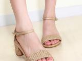 时尚必入新款! 欧美外贸 真皮拼色中跟 粗跟 女式凉鞋子 女鞋批