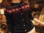2014新款外贸女士毛衣 森女气质长袖薄开衫雪花针织衫毛衣外套
