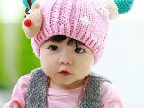 L201 2014秋冬季新款外贸 儿童牛角拼接加绒帽子批发