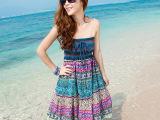 2015波西米亚长裙棉麻印花半身裙抹胸连衣裙沙滩裙