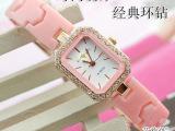 粉色 仿真陶瓷手表 女士方形环钻石英手表 高贵大气女士手表 代销