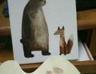 熊与狐狸布面丙烯画纯手绘