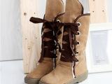 新款推荐 冬季多色保暖羊羔毛交叉绑带雪地靴 女式靴子批发HS92