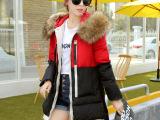2014冬季新款品牌羽绒服 女式拼色军工装中长款韩版羽绒棉衣棉服