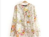 现货批发 欧美专柜同步秋季新款女式简约小碎花宽松长袖v领衬衫