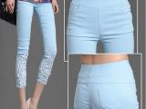 2014新款OL蕾丝钩花镶钻薄夏款白色外穿打底七分小脚裤