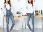 韩版个性可拆卸两穿牛仔裤背带 长裤休闲小