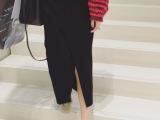 2015秋装新款松紧腰针织螺纹半身裙开叉包臀裙