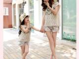 时尚母女亲子装夏装2014新款碎花短裤蕾丝衫母女套装三件套热销