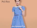 厂家直供连衣裙修身显瘦娃娃领短袖牛仔蓝色连衣裙夏 一件代发