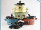 BC012中国风新款配盖带勺汤碗 可爱花卉图陶瓷泡面碗 炻瓷米饭碗