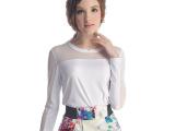 2014夏季女装上衣新款网纱拼接牛奶丝T恤打底衫雪纺衫田园小清新
